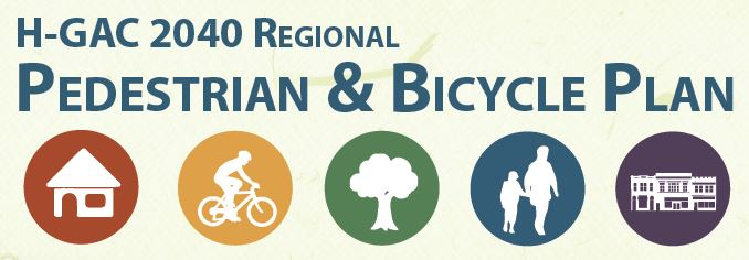 H-GAC 2040 Regional Pedestrian & Bicycle Plan graphic with icons