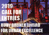 2019 Call for entries overlaid on a urban design background