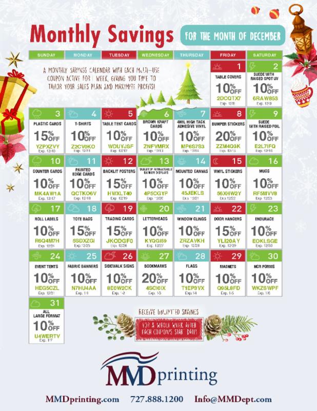 MMD Printing Monthly Savings Calendar