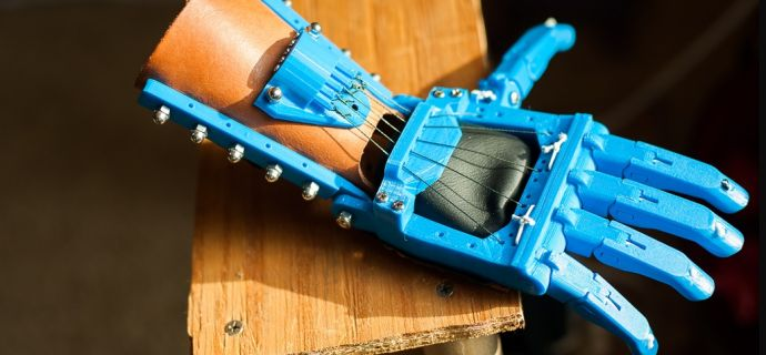 Prosthetic hand made by 3-D printing