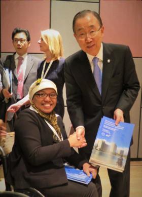 Risnawati Utami with His Excellency Ban Ki Moon