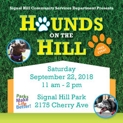Hounds on the Hill September 22 11 am - 2 pm Signal Hill Park