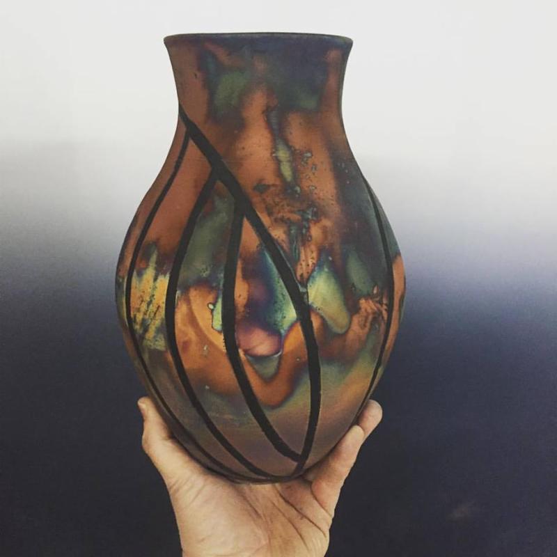 Tape resist copper Matt Raku #khnemustudio #rakufiring #handmadepottery #shopsmall