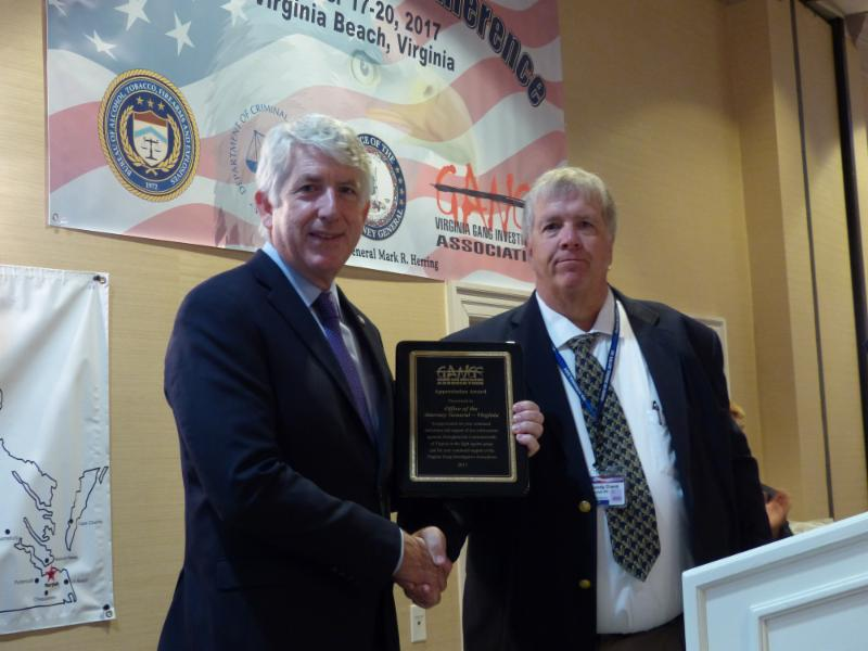 AG Herring being recognized for anti-gang efforts by the Virginia Gang Investigators Association