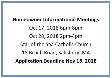 Homeowner Info Meetings. Oct 17_ Oct 20. Application deadline Nov 16_ 2018