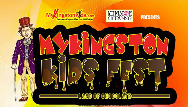 Willie Wonka in a red top hat and purple blazer stands by a NyKingstonKids chocolate dripping KidsFest logo