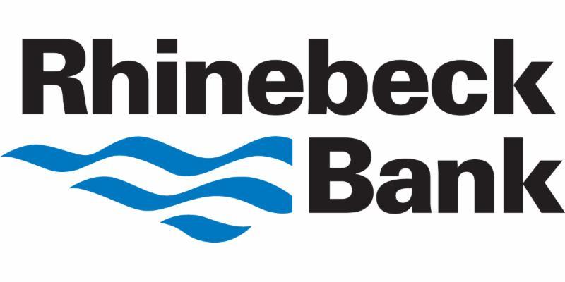 Rhinebeck Bank black print logo with blue squiggles