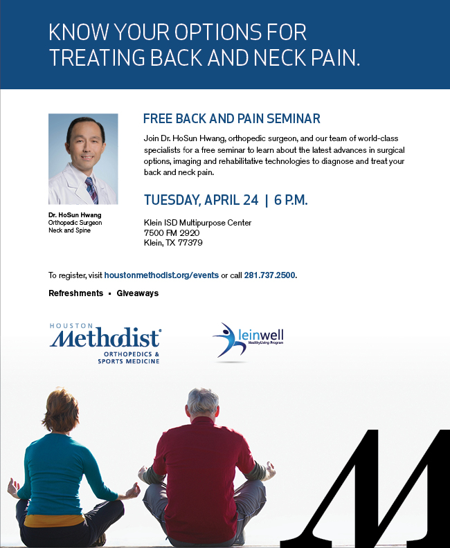 Houston Methodist Willowbrook presents free Back Pain Dine