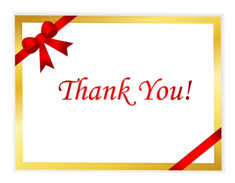 Elegant gold thank you card with red ribbon and shiny red thank you text in middle