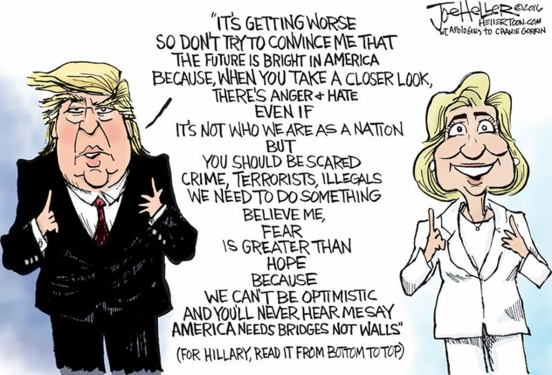 Trump v. Hillary cartoon