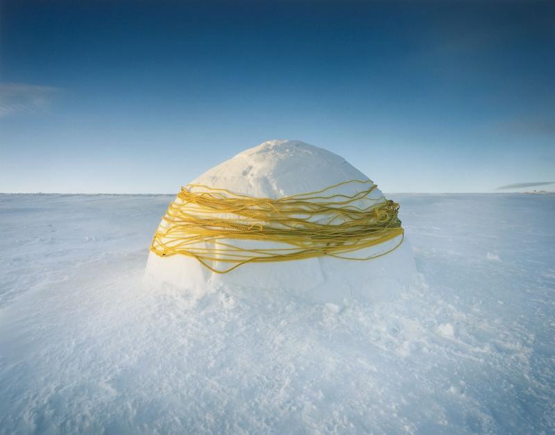Igloo wrapped with yellow twine