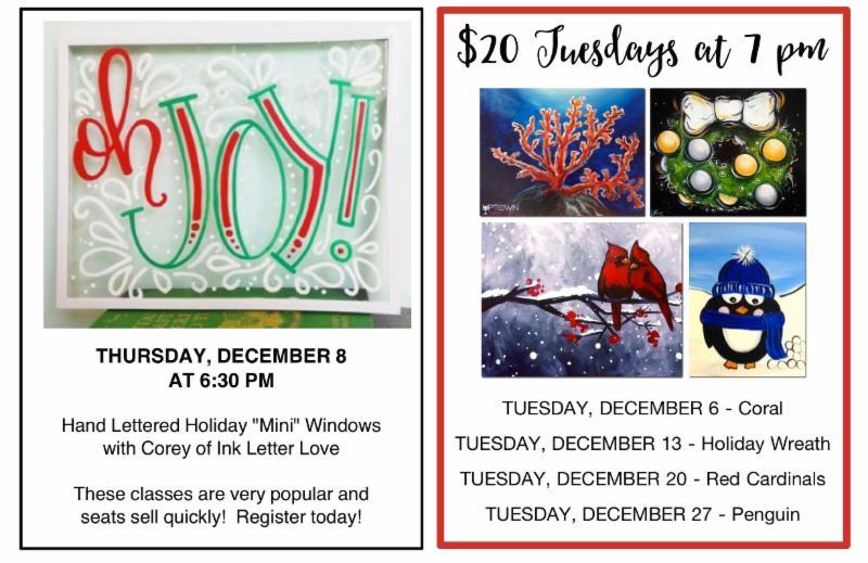 Uptown Art Calendar Jupiter : The paint palette december newsletter from uptown art