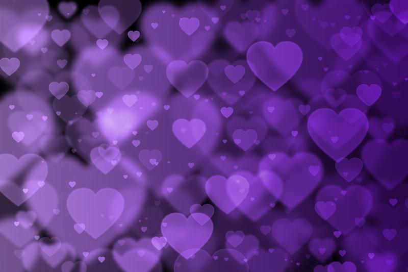 Purple hearts background with bokeh effect. Illustration.