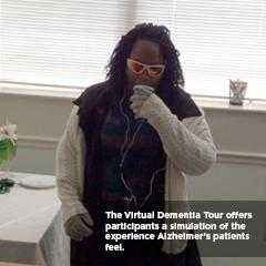 Virtual Dementia trainee experiences what a person living would Alzheimer's would feel like
