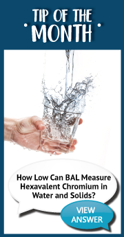 How low can BAL measure hexavalent chromium in water and solids_