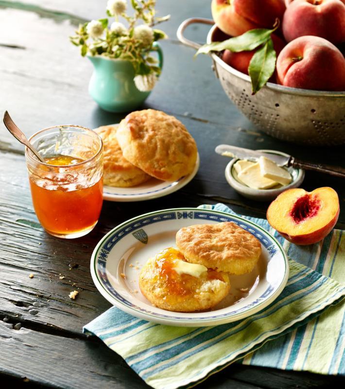Southern Biscuits with Peach Preserves.