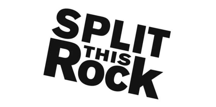 Split This Rock logo. The words Split This Rock appear in black and slanted in front of a white background.