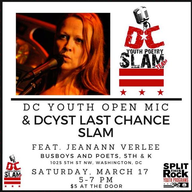 Image of Jeananne Verlee (on left) and DC Youth Slam Team Logo (on right)