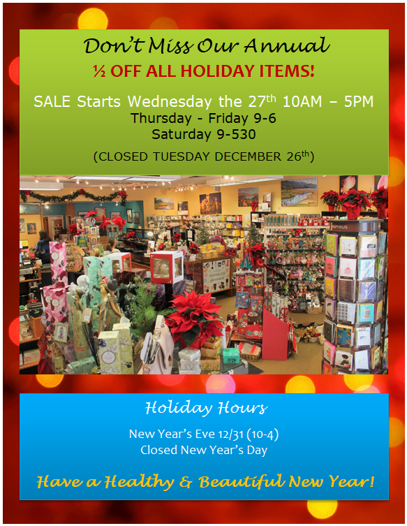 ANNUAL HOLIDAY SALE!