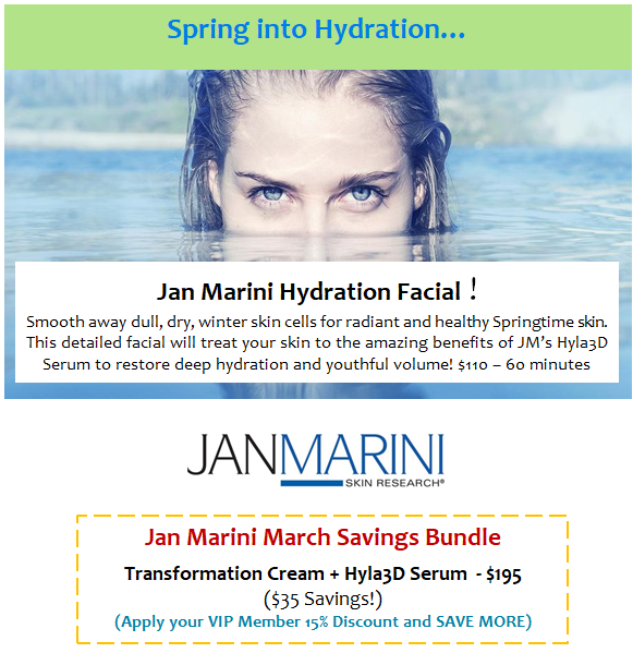 NEW Jan Marini Hydration Facial & Specials!