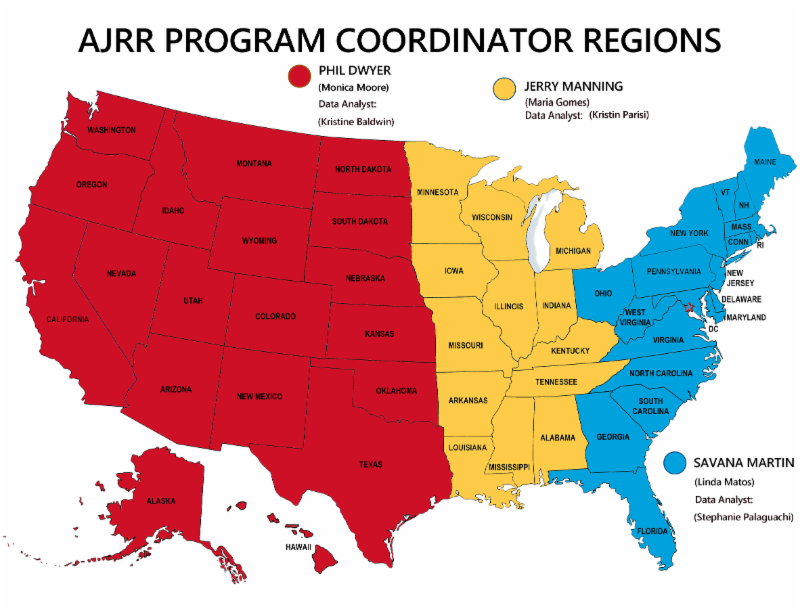 AJRRs The Register New Platform Launch Begins - Us map separated by region