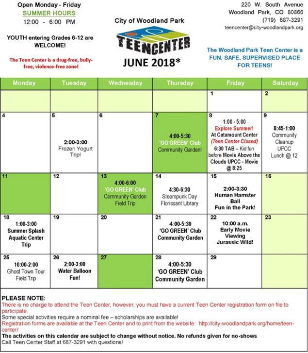 teen center schedule