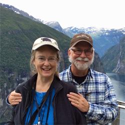 Bestselling author Kathleen Ernst and husband Mr. Ernst in Norway.