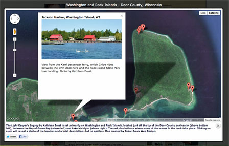 Custom Google map of Washington and Rock Islands created for The Light Keeper_s Legacy_ the Chloe Ellefson mystery by bestselling author Kathleen Ernst.