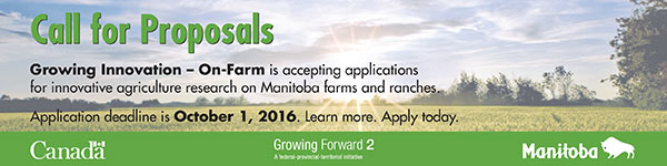 Manitoba Agriculture ad about the Growing Innovation program and application deadline.