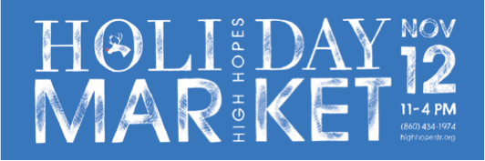 holiday market banner on blue