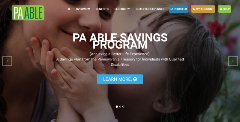 Home page of PA ABLE website.