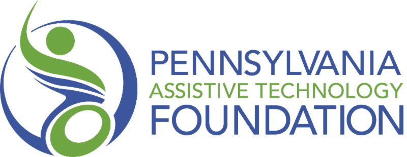 Pennsylvania Assistive Technology Foundation logo - stylized person in a wheelchair in green and blue.