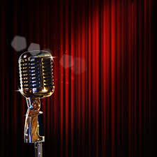 shiny microphone and curtains