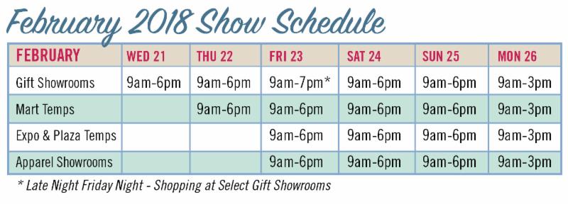 Show Schedule Feb 2018