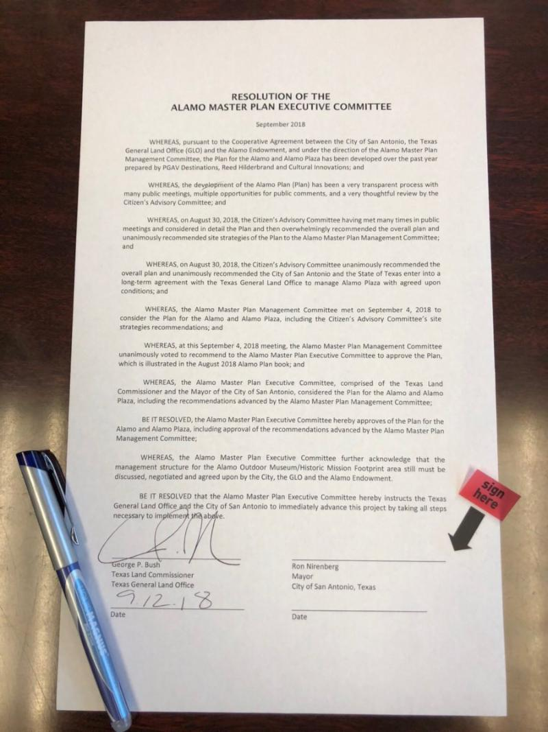 Alamo Executive Committee Resolution Signed by Texas Land Commissioner George P. Bush