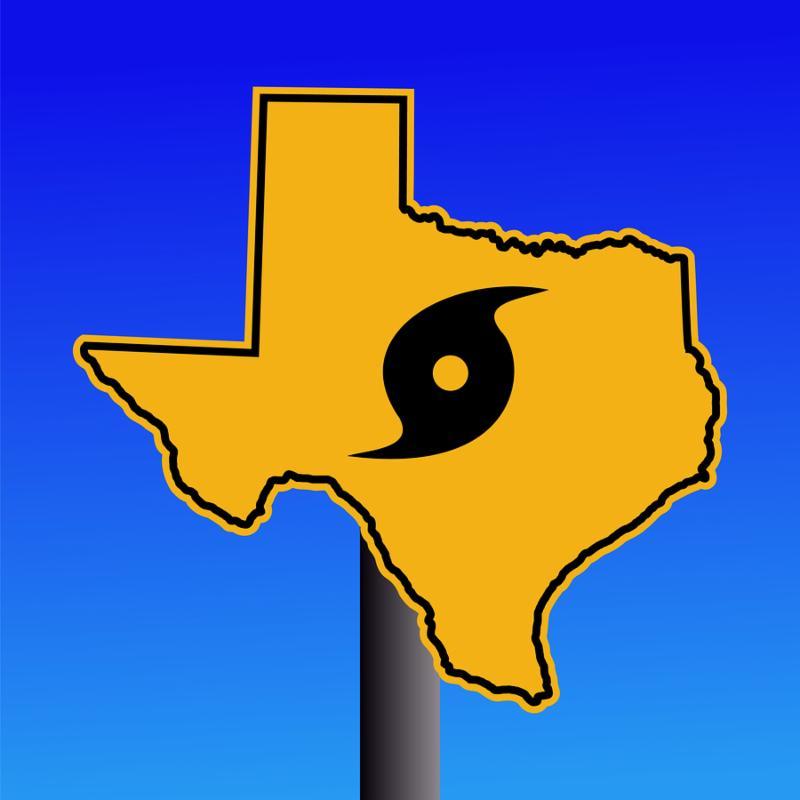 Texas warning sign with hurricane symbol                                                         on blue                                                         illustration                                                         JPEG