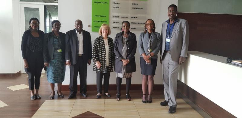 L-R: Funanani Nemaheni, Florah Karimi, Joseph Gichuru, Maggie Dallman, Catherine Kyobutungi, Evelyn Gitau, and Peter Ngure during the visit to the Center.