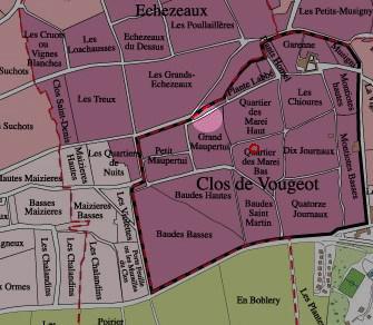 Clos Vougeot Map Guyot