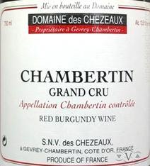 Chezeaux Chambertin Label