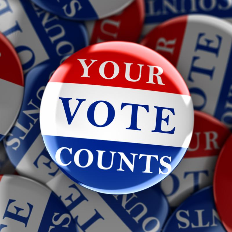Vote buttons with Your Vote Counts - 3d rendering