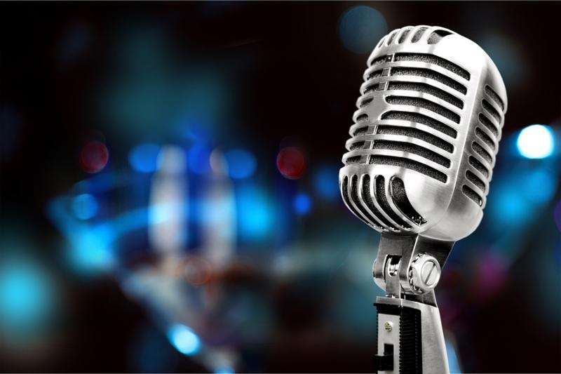 Silver microphone mic white old background instrument radio