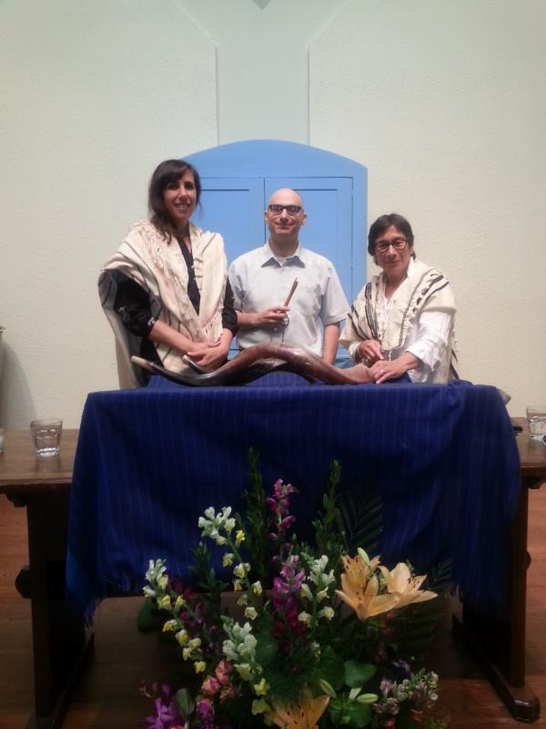 Chazzan Gesundheit, our Torah reader, Ed Weiss, and Rabbi Goldberg, on 2nd day Rosh Hashanah