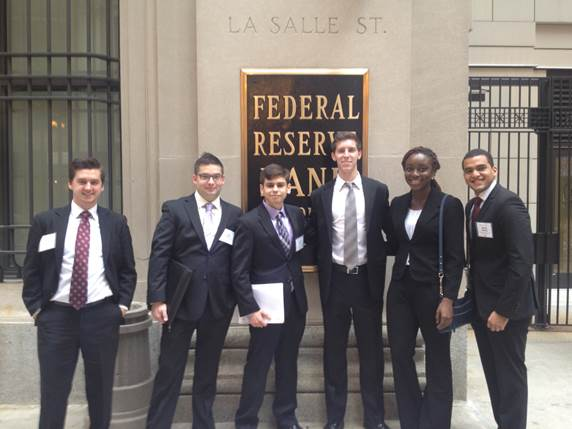 Econ students outside Federal Reserve Bank in Chicago_ November 2015