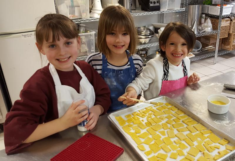 Children Baking Crackers