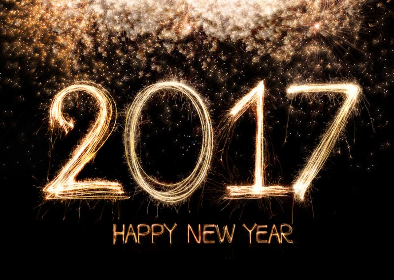 Happy new year 2017 written with Sparkle firework with firework background