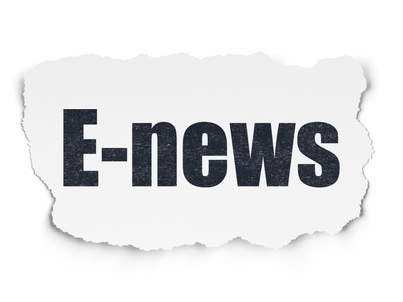 News concept  Painted black text E-news on Torn Paper background with Scheme Of Hand Drawn News Icons