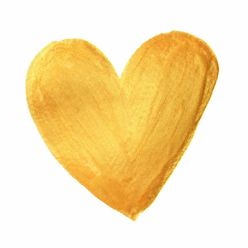 Gold heart paint brush for Valentine on white background. Golden watercolor painting of heart shape for love concept design. Valentine s day card heart template