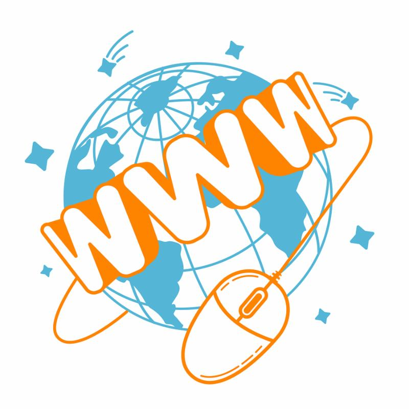 concept of communication in the Internet sales in the form of a computer mouse which revolves around the earth with the inscription WWW. Icon in the linear style