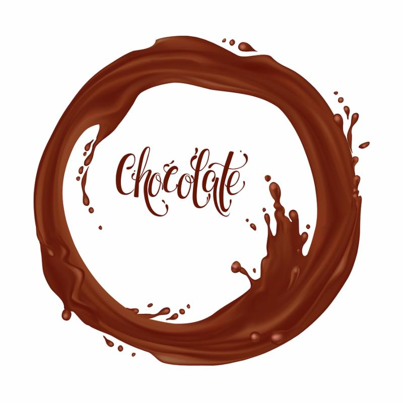 Chocolate flowing in a circle. Realistic falling drops and splash isolated on transparent background. Chocolate_ Coffee_ hot chocolate_ cocktail. Element for your design. Raster illustration.