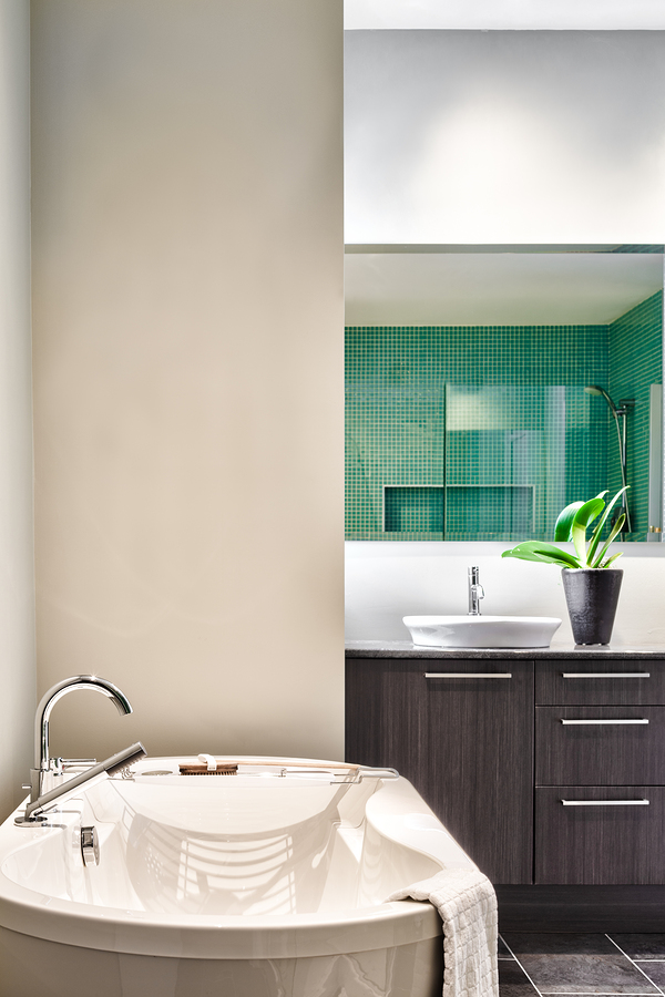 Modern Bathroom with blank wall for your test image . Soft Green Pastel Colors